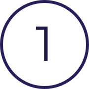 Image of the number one, indicating the first of three steps